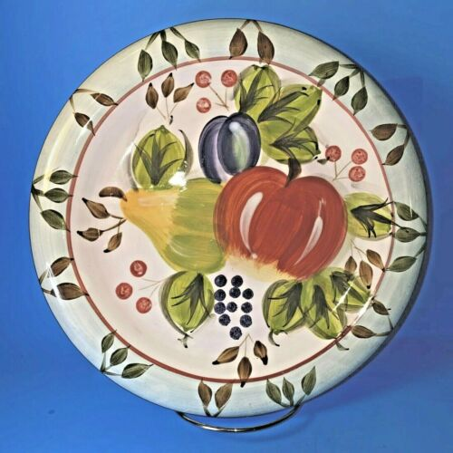 """HERITAGE MINT BLACK FOREST FRUITS DINNERWARE 2 DINNER PLATES DISCONTINUED 10.5"""""""