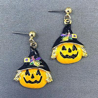 Gold Finished Halloween Pumpkin With Hat Design Shape Drop Dangle Post Earrings - Post Halloween Pumpkin