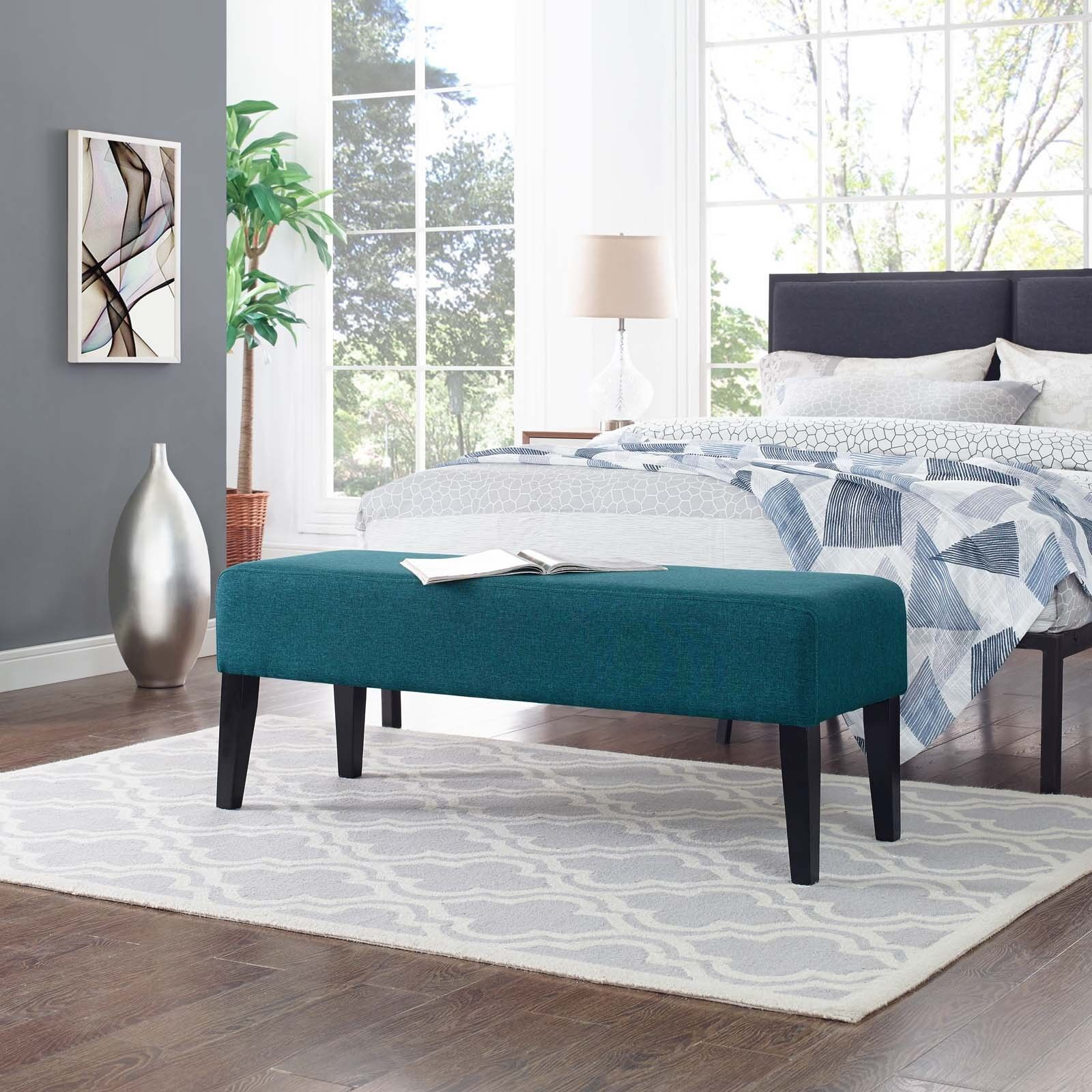 Details about Contemporary Modern Upholstered Fabric Bench in Teal