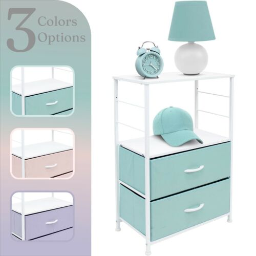 Bedside Furniture & Accent End Table W/ 2 Drawers - Nightstand 2 Shelf Storage