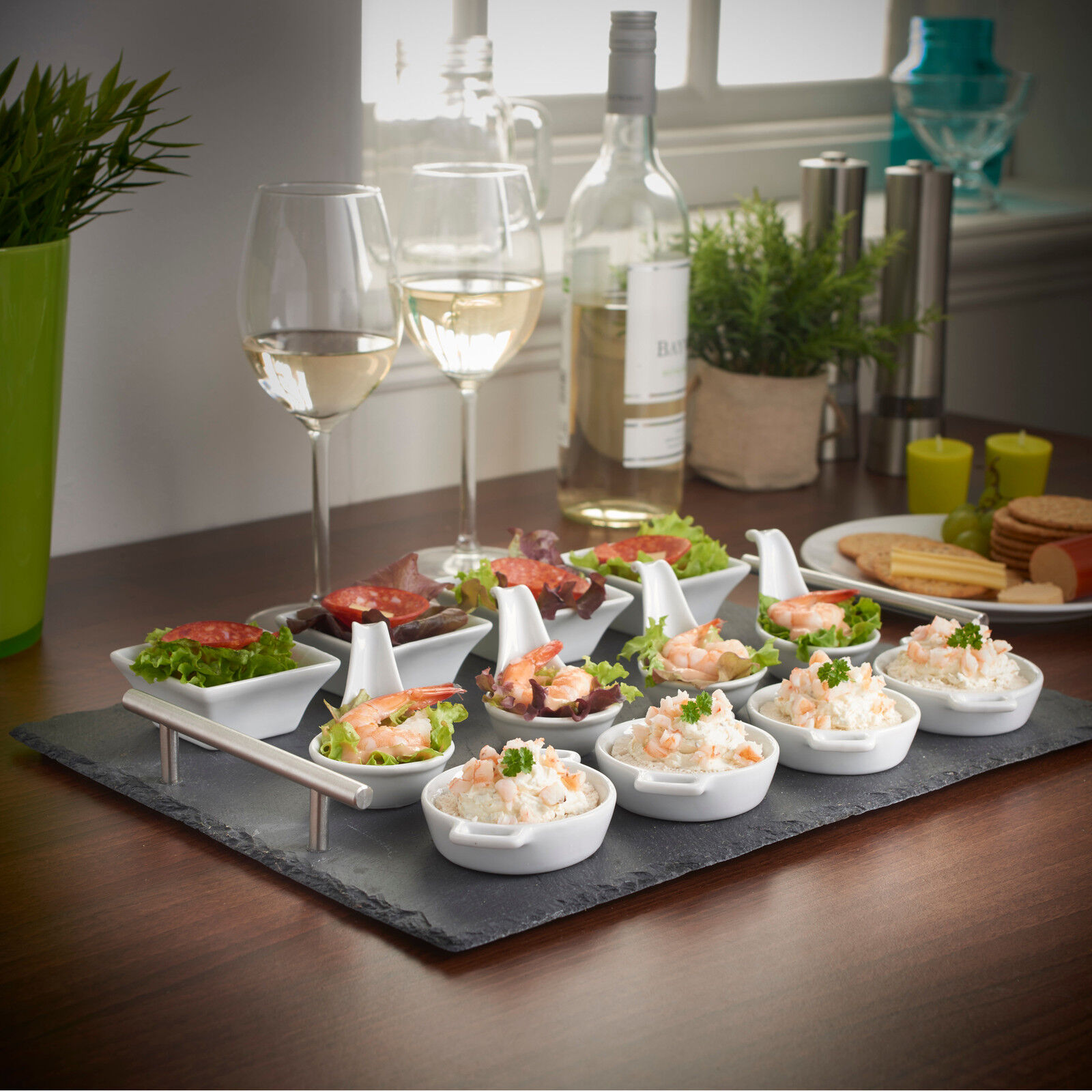 Vonshef 13 piece tapas canape slate serving tray with dish for Canape buffet menus