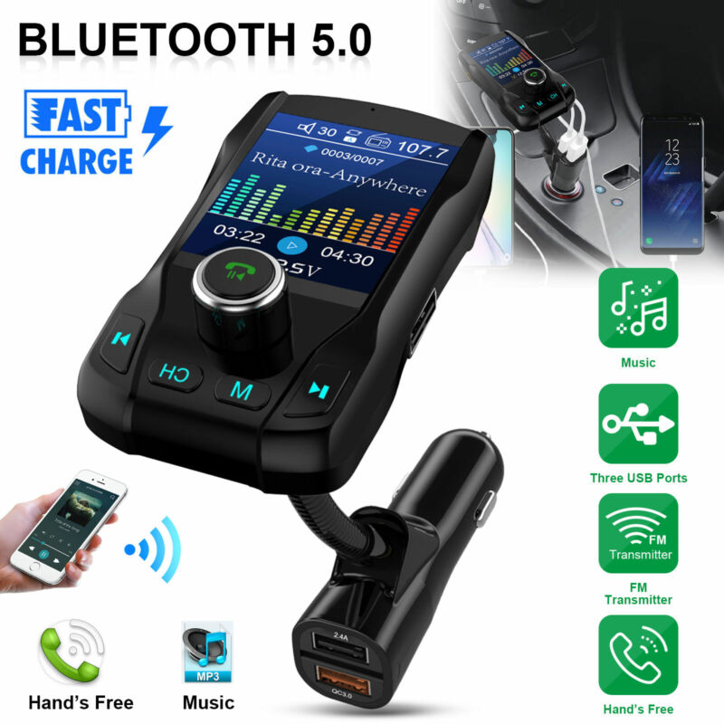 1.8inch Bluetooth 5.0 FM Transmitter Car Wireless MP3 Audio Adapter 2USB Charger