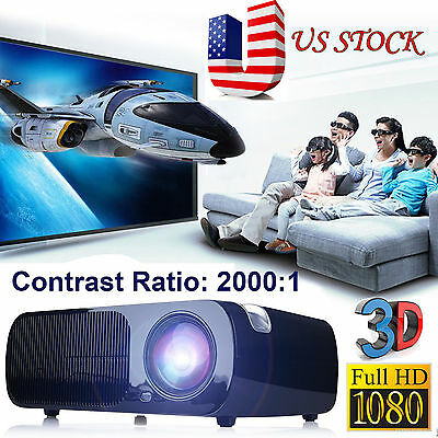 Irulu 3D Home Cinema Theater  Video Led Projector 1080P Hd Hdmi Av Usb Vga Pc Sd