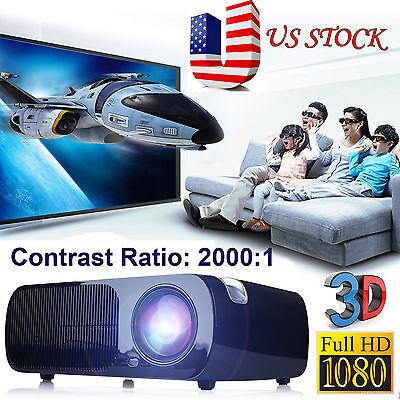 iRULU 3D Home Cinema Theater  Video LED Projector 1080P HD HDMI AV USB VGA PC SD