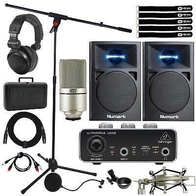 Behringer UM2 2x2 USB Home Audio Recording Interface Pack w Mic & Speakers