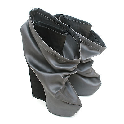 GARETH PUGH high wedge heel fabric covered bag shoes slouch sack boots 11/41