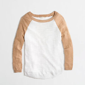 NWT $65 J.Crew Airspun Baseball Sweater in Colorblock S JCrew Women Sweater