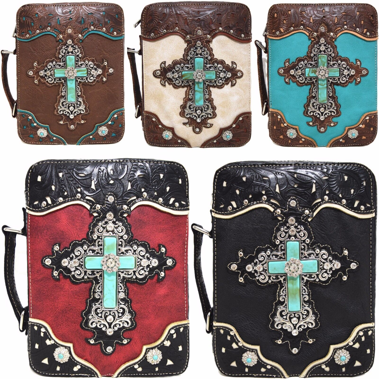 Western Style Scripture Bible Cover Books Case Cross Extra S