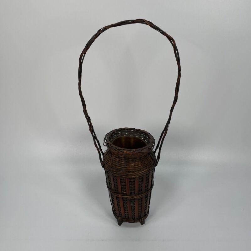 "Antique Vintage Japanese Ikebana Basket 5"" Wide 7""&15"" Tall Tin Insert Flowers?"
