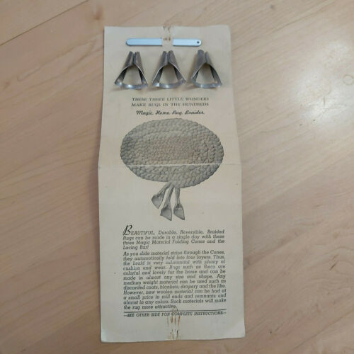Vintage Set of 3 Magic Home Rug Braider Tools w Instructions