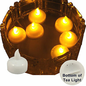 6 flameless floating led tealight candle battery operated amber tea lights new. Black Bedroom Furniture Sets. Home Design Ideas