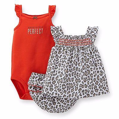 Carters 3 Piece Bloomer Set 6 Months Leopard Diaper Cover Bodysuit Dress