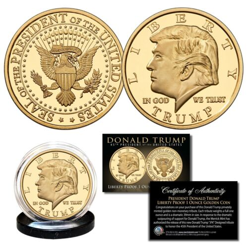 Donald Trump 45th President Liberty PROOF Golden Tribute Large 39mm Coin - 1 OZ