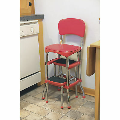 Retro Chair With Step Stool - Red Retro Chrome Pull Out Step Stool with Chair Kitchen Bar Counter Garage Home