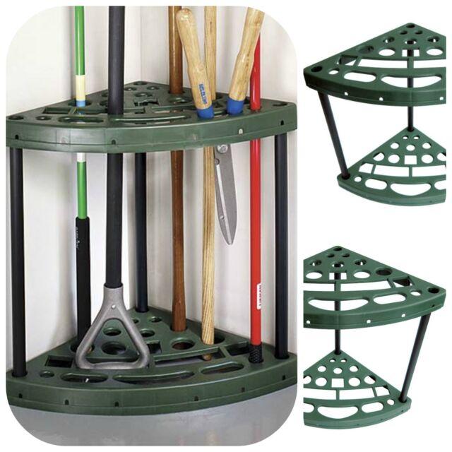 Garden yard tool corner storage rack tools organizer broom for Gardening tools organizer