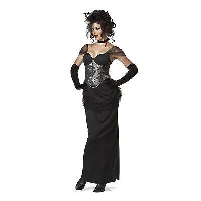 Sexy Victorian Vampiress Womens Costume Black Dress Necklace Halloween - Halloween Costume Victorian