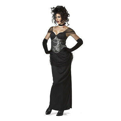 Victorian Vampiress Halloween Costume (Sexy Victorian Vampiress Womens Costume Black Dress Necklace Halloween)