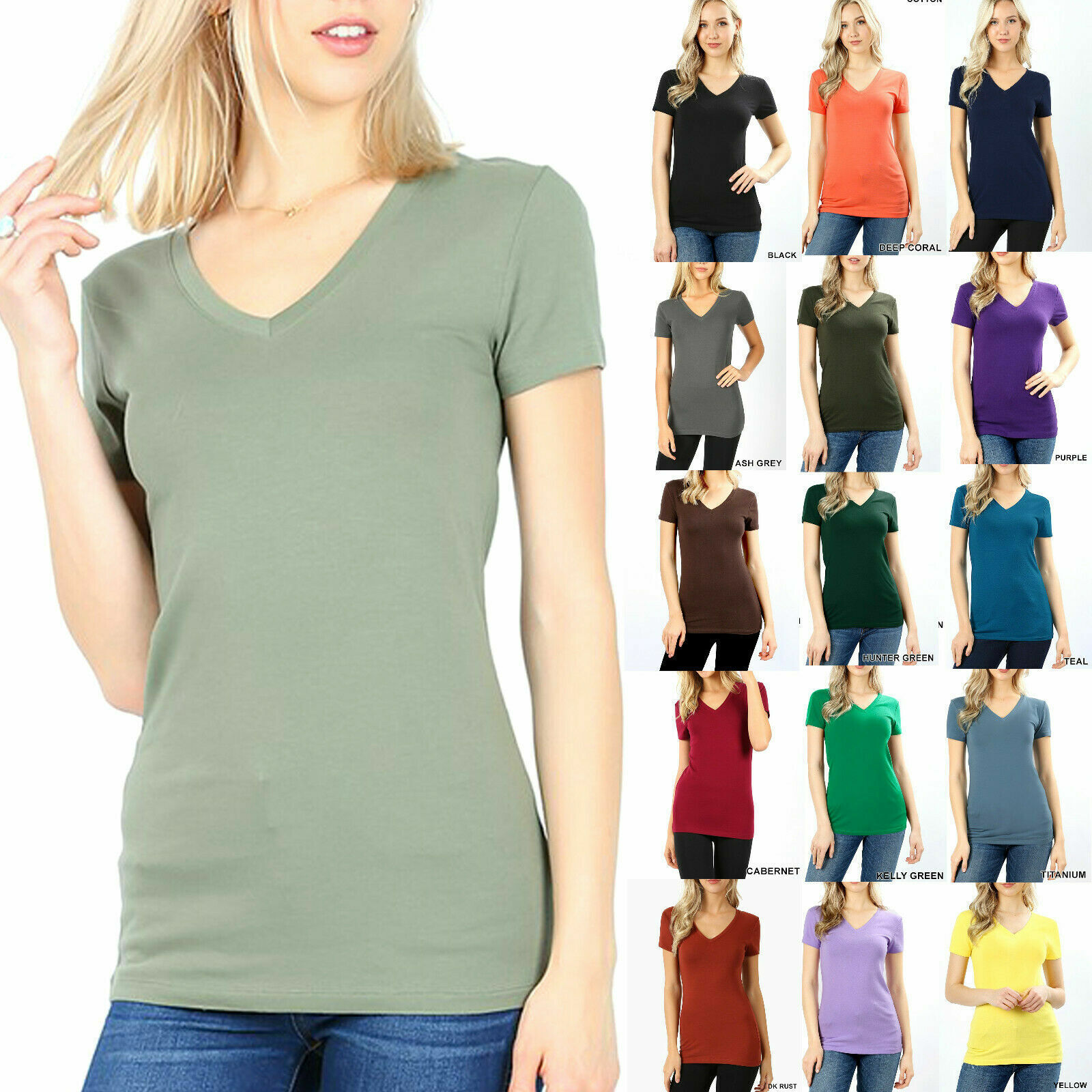 Womens Basic V-NECK SHORT SLEEVE Cotton T-Shirt Top Stretch Solid Layering Plain Clothing, Shoes & Accessories
