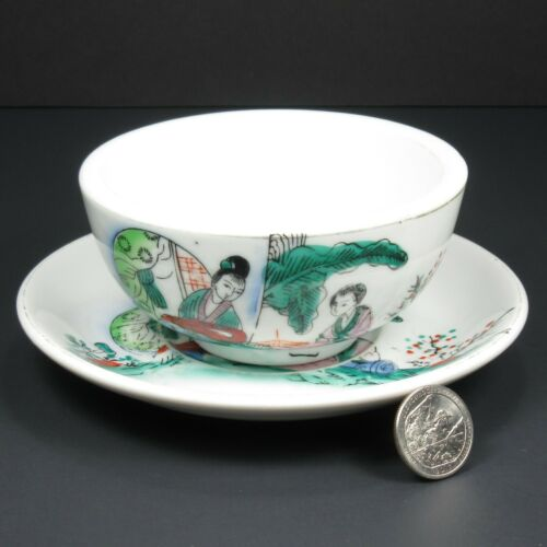 Vintage Chinese Tea Cup Bowl Saucer Set No Handle or Lid Restaurant Weight