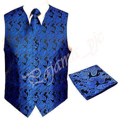 Royal Blue XS to 6XL Paisley Tuxedo Suit Dress Vest Waistcoat & Neck tie Hanky -