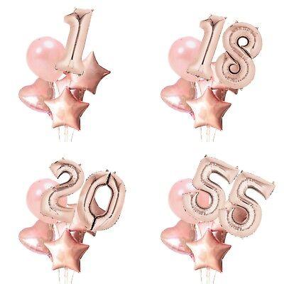 Luftballon Set XL Zahl 75cm Geburtstag Ballon Jubiläum Nummer Birthday rose gold ()