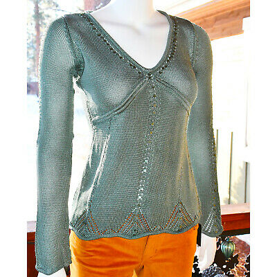 Arden B. Size Small - Sage Green Sweater with Beads & Sequins -