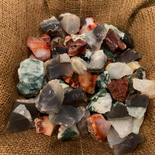 500 Carat Lots of Unsearched Natural MIXED Agate Rough + A FREE Faceted gemstone