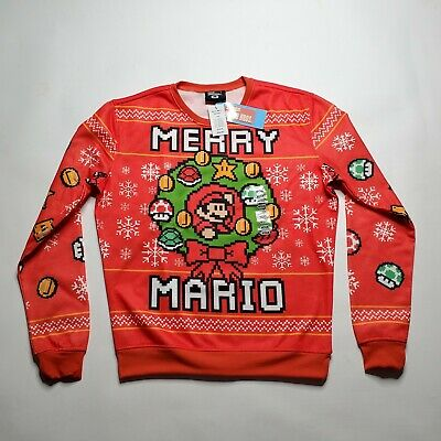 Think Geek Nintendo Super Mario Brothers Merry Mario Ugly Christmas Sweatshirt M