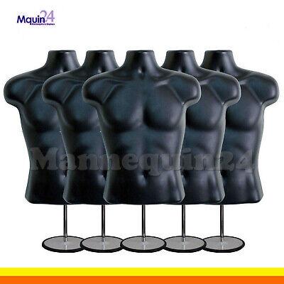 5 Male Torso Mannequin Forms -black W 5 Stands 5 Hanging Hooks Men Clothings