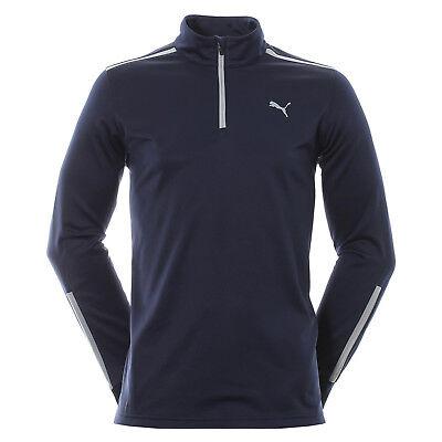 Puma Midweight 1/4 Zip Fleece Sweatshirt Golf Sweater Pullover Popover Blau Men ()