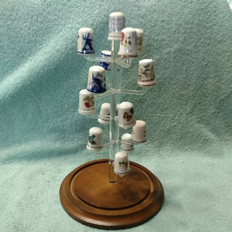 Bards Products Thimble Display Rack Stand Wood & Plastic & 14 Porcelain Thimbles