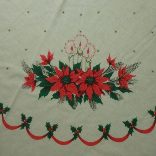 """69"""" Round Christmas Tablecloth White Cloth Red Green Poinsettia Candles Holly"""
