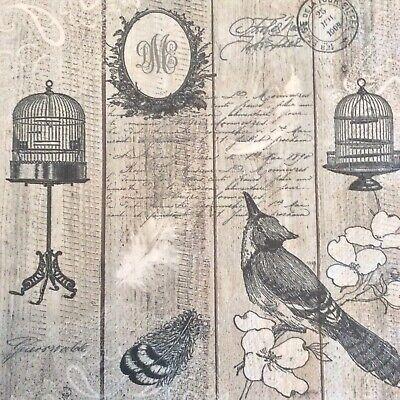 paper napkins decoupage x 2 vintage birds & cages 33cm