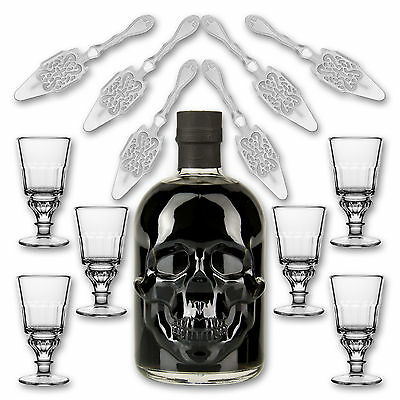 Black Head Absinthe + 6x Absinth Glas Pontarlier + 6x Absinth Löffel Antique