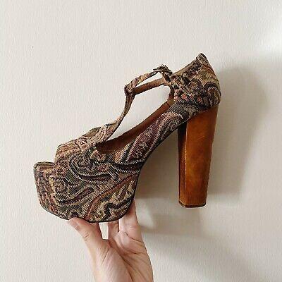 Jeffrey Campbell Platform Havana Tapestry Heels Shoes UK 6 Boho Free People