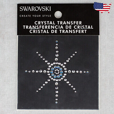 Star Rhinestone Iron On Crystal Transfer-Swarovski Applique Silver Blue DIY