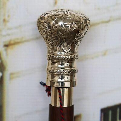 Vintage Wooden Walking Stick Cane Brass best BALL head Antique Handle Style