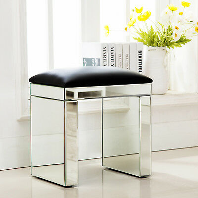 Modern Mirrored Glass Bench Vanity Make-up Padded Stool Home Furniture Silver Metal Modern Bench