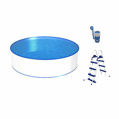 Poolset, Größe & Tiefe wählbar, Aufstellbecken mit 0,3mm Stahlwand, blaue Poolfo