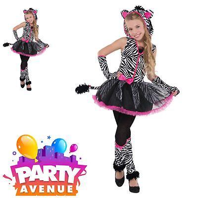 Child Teen Zebra Sassy Stripes Costume Girls Book Day Fancy Dress - Teen Zebra Kostüm