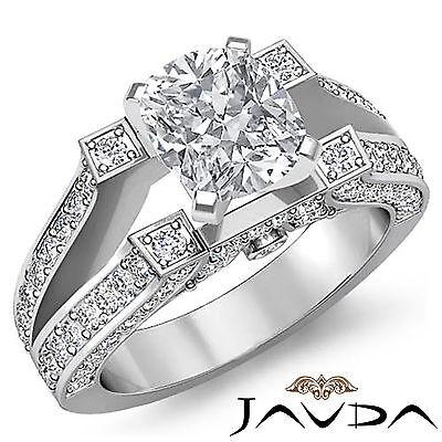 Vintage Split Shank Cushion Diamond Engagement Ring GIA Certified H VS2 2.2 Ct
