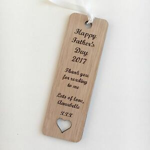 Personalised Bookmark Fathers Day Birthday Dad Grandad Wooden Oak Bookworm