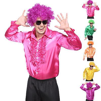 Retro Herren Kostüm Satin Disco Schlager Star Kostüm Rüschenhemd (Disco Mode Kostüm)