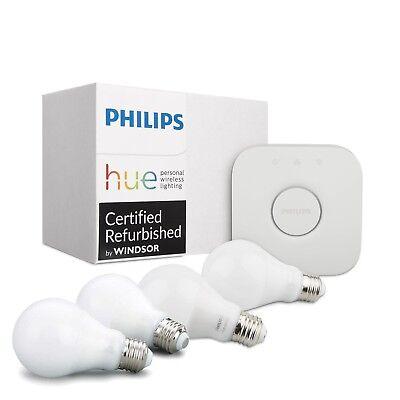 Philips Hue White 4PK A19 60W Dimmable LED Smart Bulb + Bridge Starter Kit