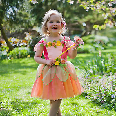 TODDLER GIRLS KIDS CHILDRENS DELUXE FLOWER FAIRY DRESS & WAND COSTUME AGE 2-8 ()