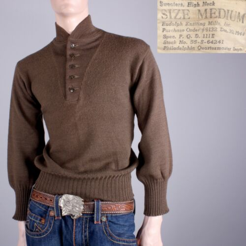 S/M Vintage 1944 Mens Military Brown High Neck 5 Button Wool Sweater WWII 40s