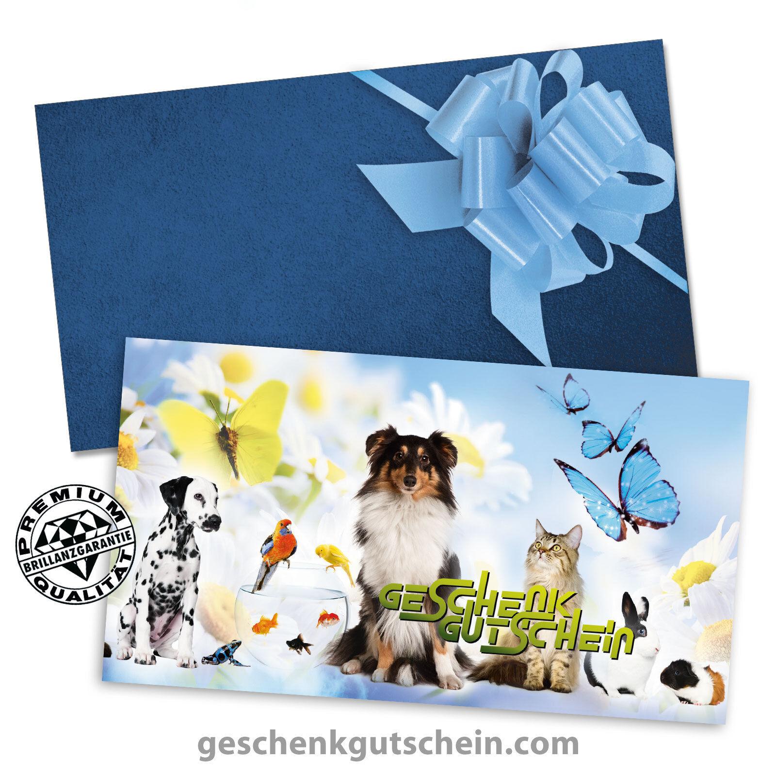 Gutscheinkarten mit Kuverts und Schleifen für Zoofachhandel, Tierarzt ZH1222