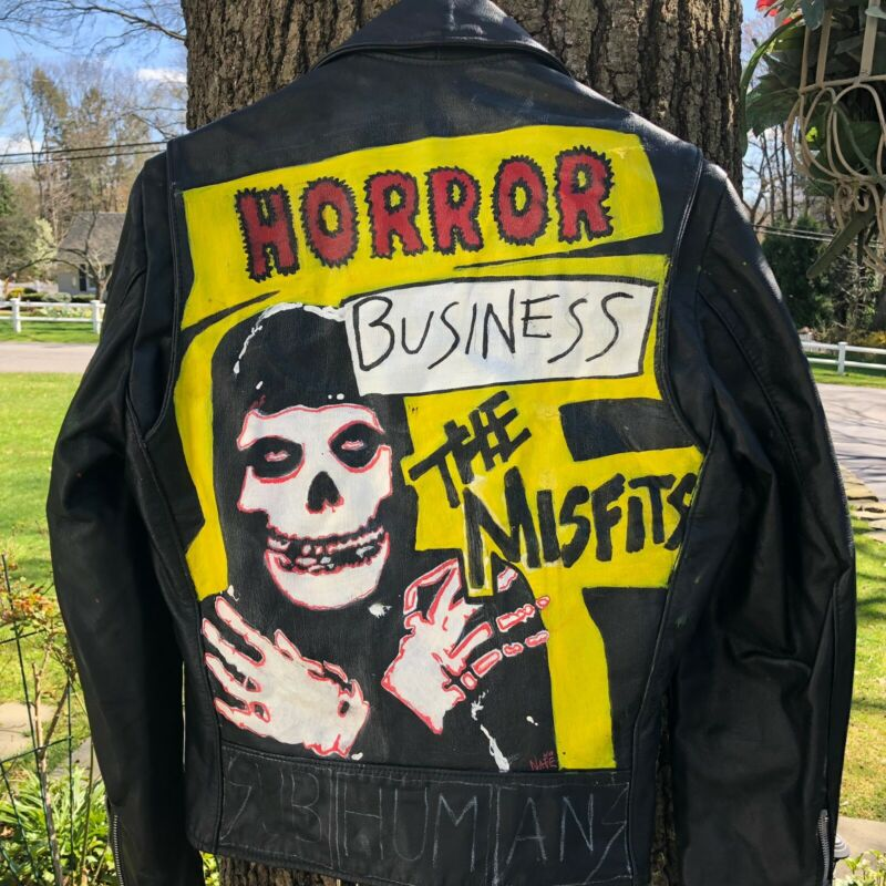MISFITS HAND PAINTED VINTAGE LEATHER MOTORCYCLE JACKET MENS SIZE SMALL
