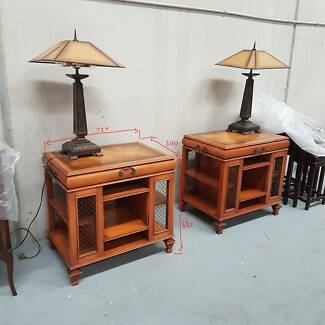 Pair of American Oak Bed-Side Tables - 1950s or 60s - Made in USA