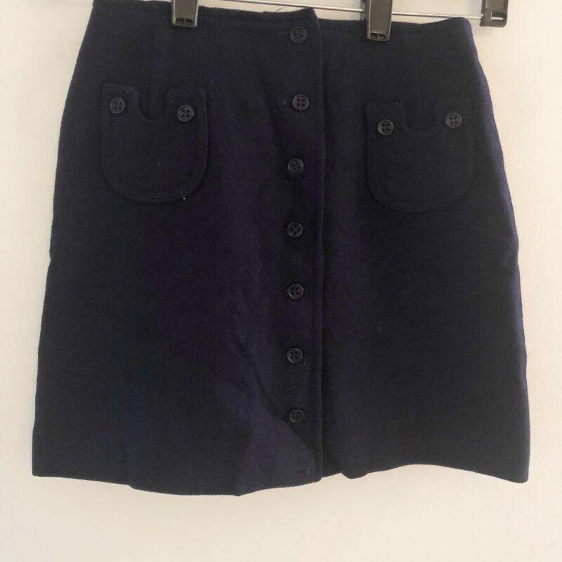 Vintage Bobbie Brown Girls Skirt Navy Blue Wool Button Front Size 5